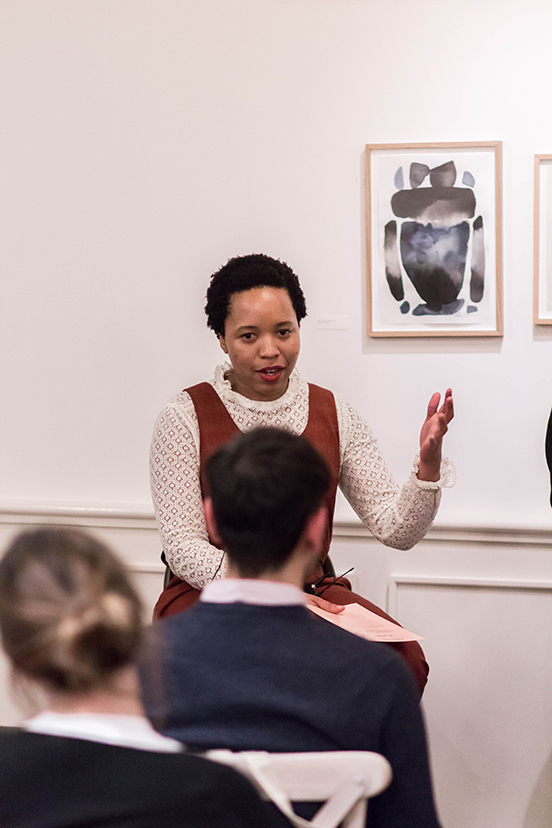 Naomi Mdudu, founder of The Lifestyle Edit speaks at a Bumble Bizz panel